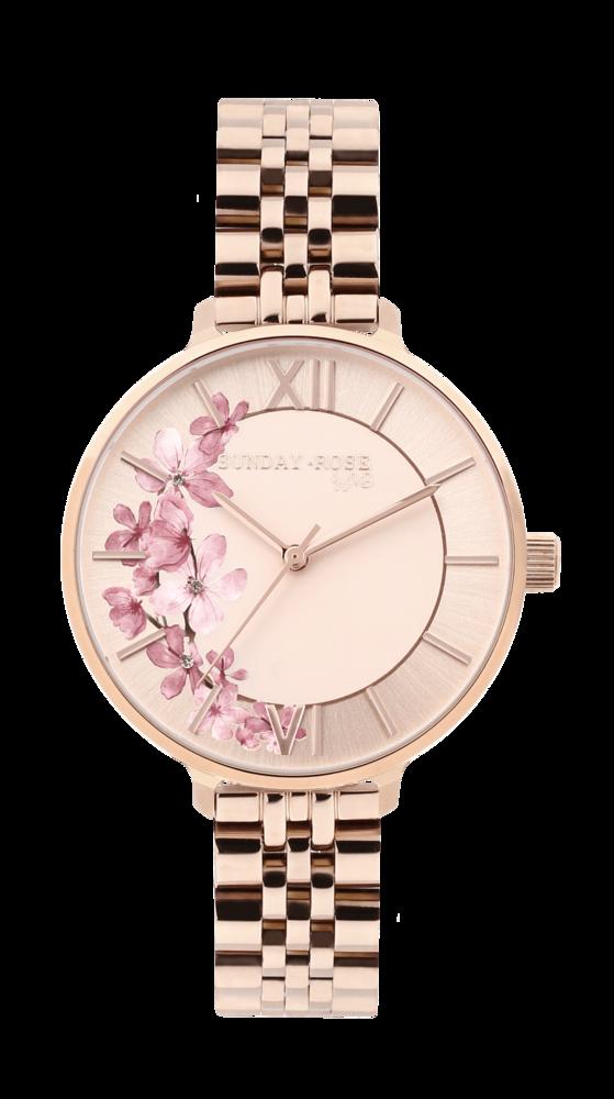 SUNDAY ROSE Dámské květinové nadčasové hodinky Spirit ROSE GOLD SUN-S11