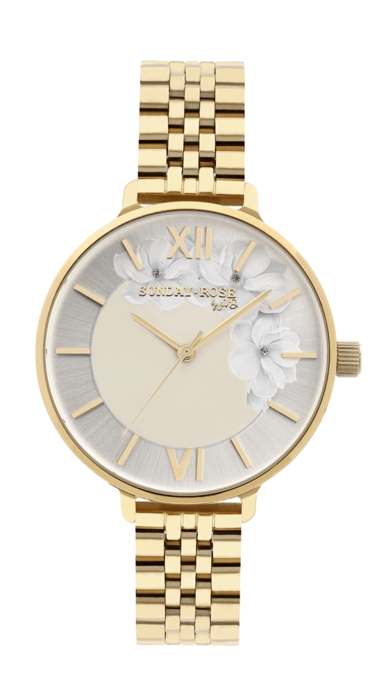 SUNDAY ROSE Dámské květinové nadčasové hodinky Spirit GOLD SUN-S13