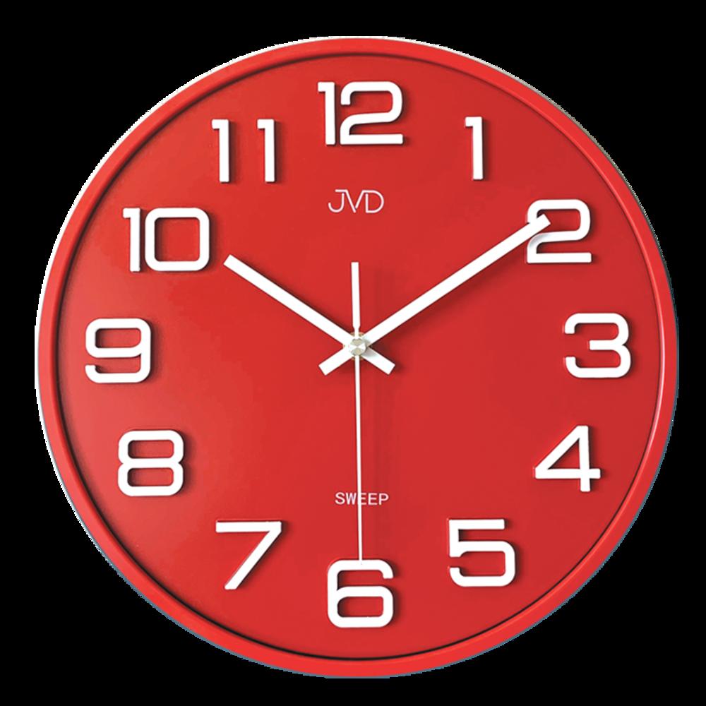 JVD Nástěnné červené netikající hodiny JVD SWEEP červené HX2472.6