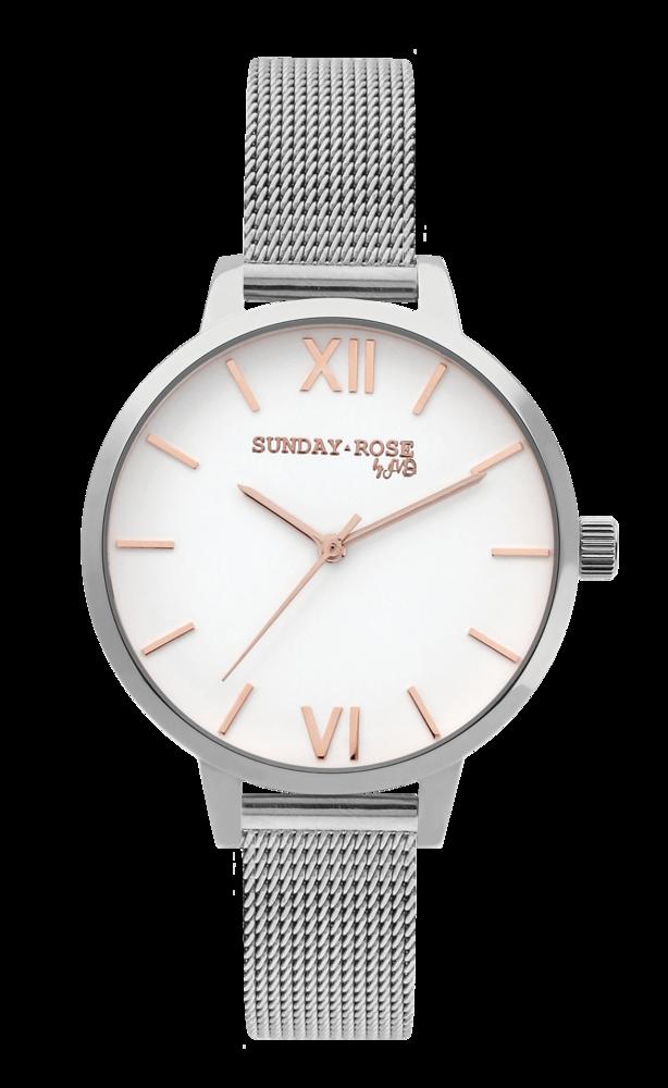 SUNDAY ROSE  Dámské elegantní hodinky Fashion SILVER LOVE SUN-F04