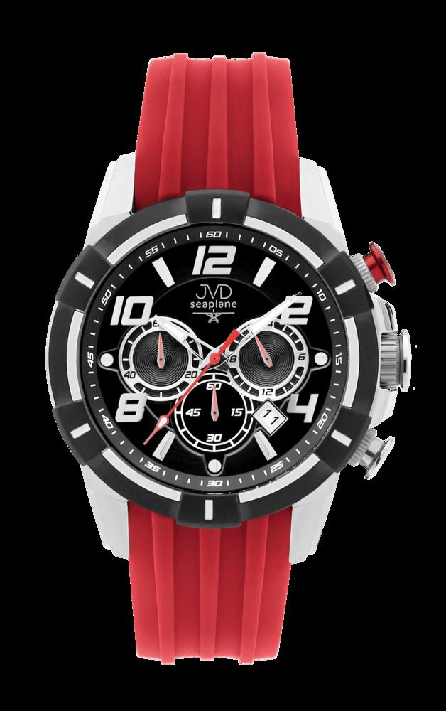JVD Sportovní pánské vodotěsné červené náramkové hodinky JVD JE1007.3