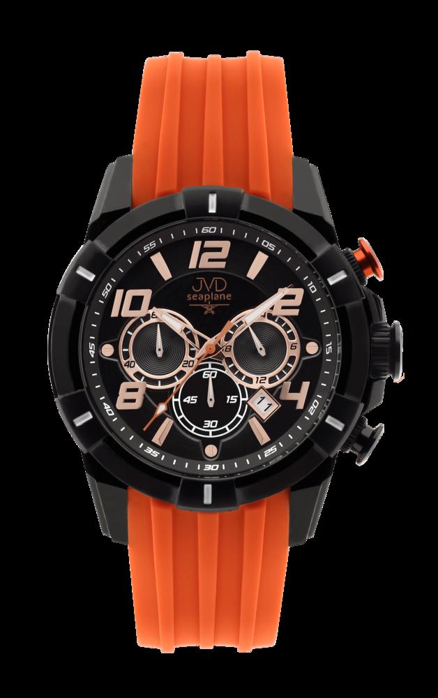 JVD Sportovní pánské vodotěsné oranžové náramkové hodinky JVD JE1007.1
