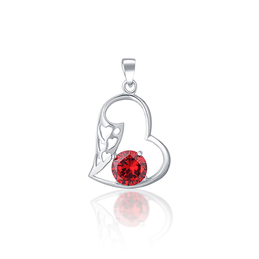 JVD Stříbrný přívěsek s červeným rubínem srdce SVLP0729XD5CE00