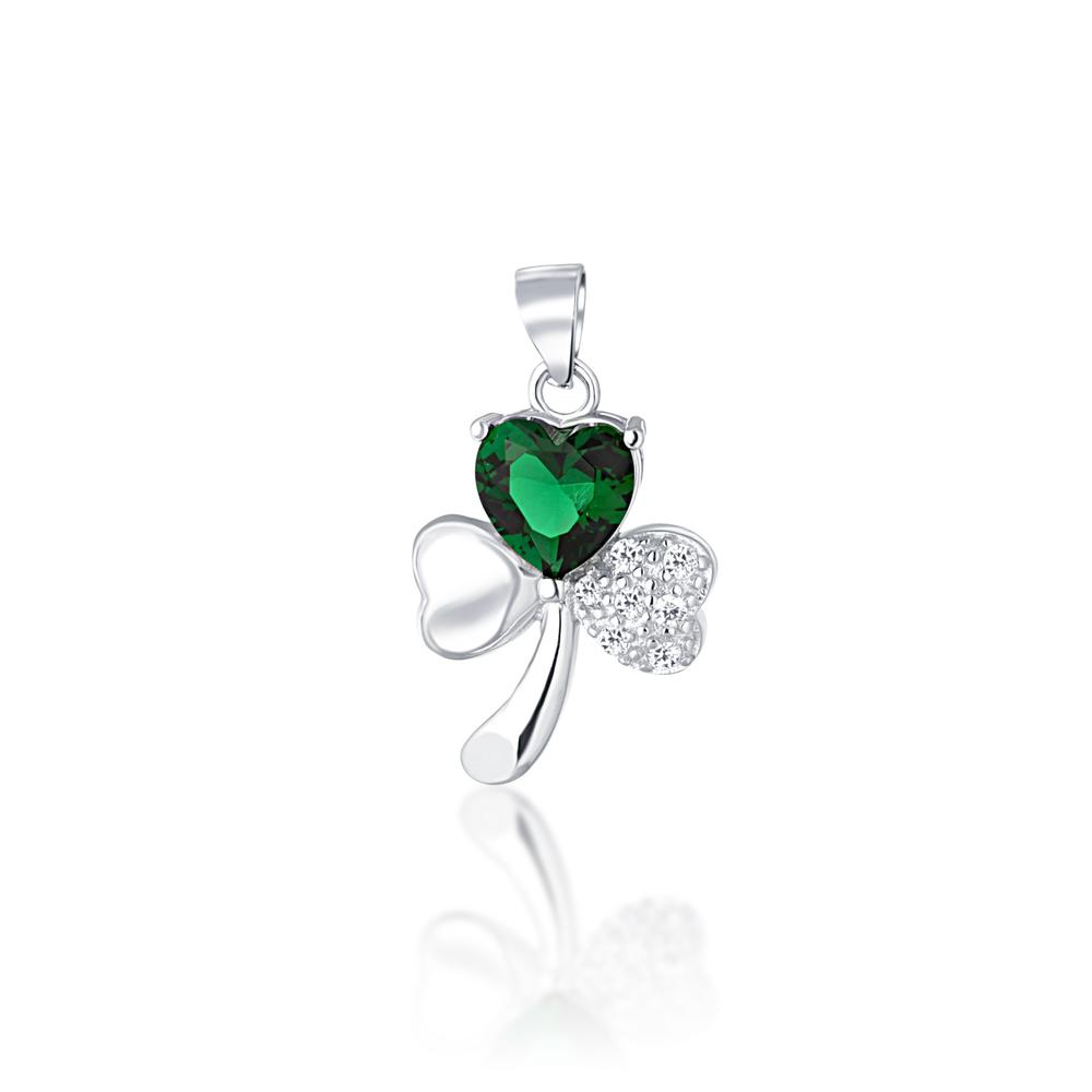 JVD Stříbrný přívěsek se zeleným smaragdem srdce SVLP0733XD5Z300