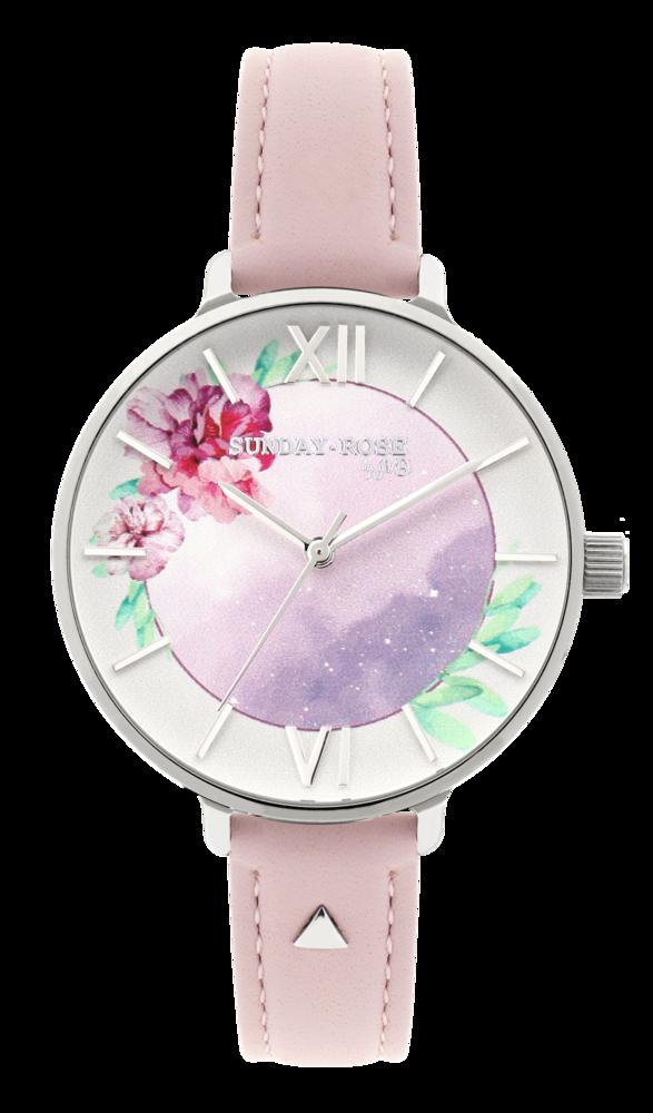 SUNDAY ROSE Dámské květinové eleganní hodinky  Enchanted Early Sunrise Leather SUN-E02