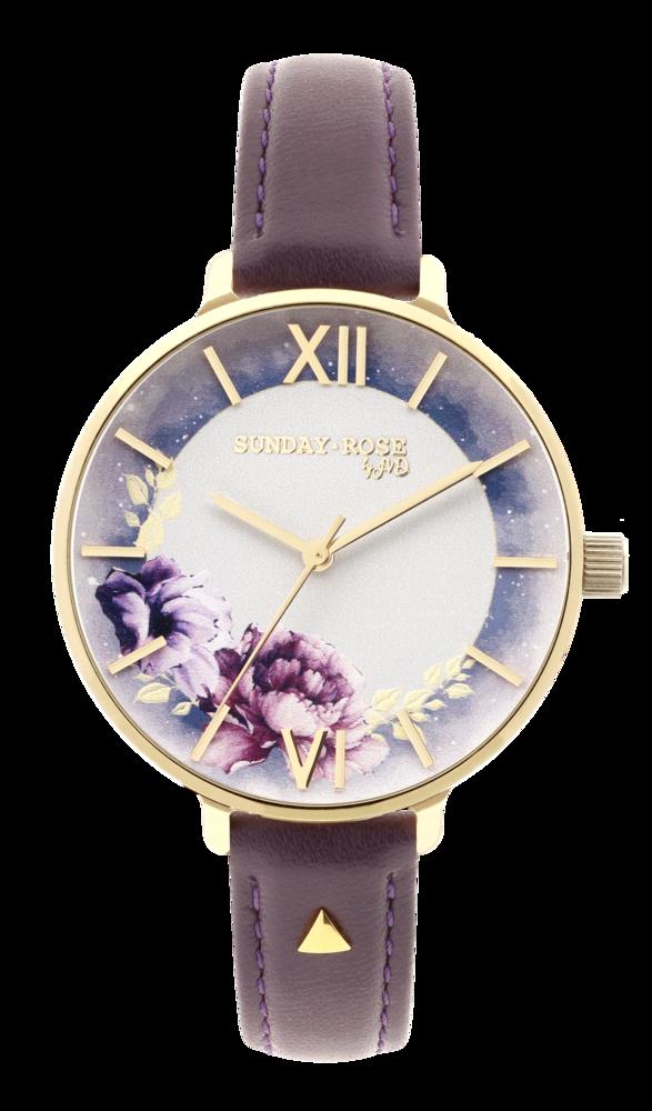 SUNDAY ROSE Dámské květinové eleganní hodinky Enchanted Midnight Sky Leather SUN-E06