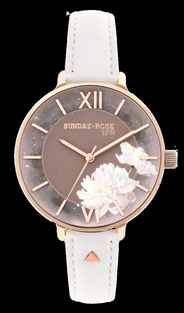 SUNDAY ROSE Dámské květinové eleganní hodinky Enchanted Rosy Sunset Leather SUN-E04