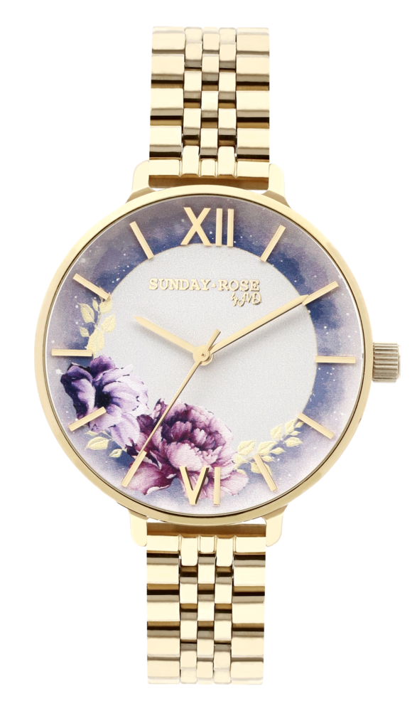 SUNDAY ROSE Dámské květinové eleganní hodinky Enchanted Midnight Sky SUN-E05