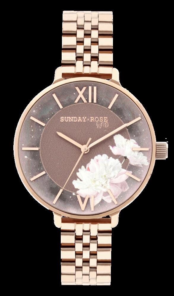 SUNDAY ROSE Dámské květinové eleganní hodinky  Enchanted Rosy Sunset SUN-E03