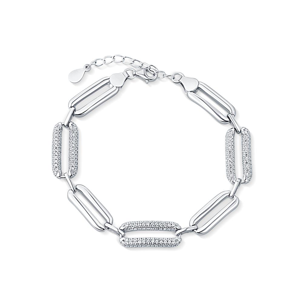 JVD Stříbrný mohutný dámský náramek se zirkony SVLB0211XD5BI18