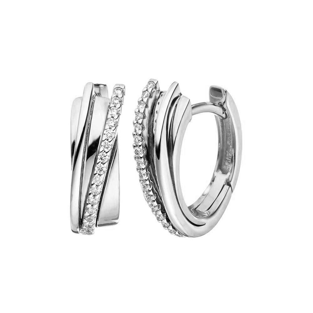 JVD Dámské stříbrné náušnice kruhy se zirkony SVLE1078XH2BI00
