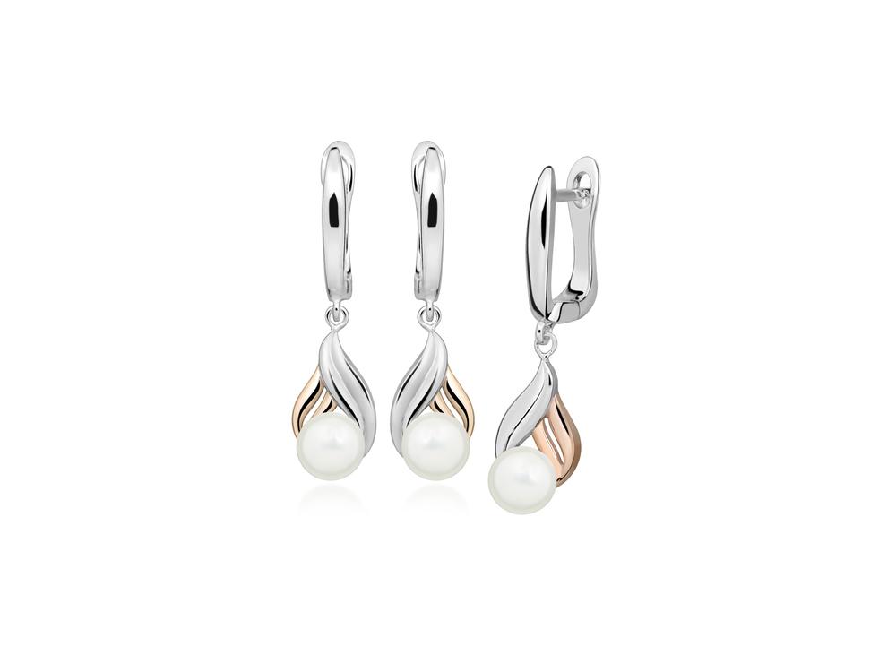 JVD Dámské stříbrné pozlacené náušnice s perlami SVLE0409SH8P100