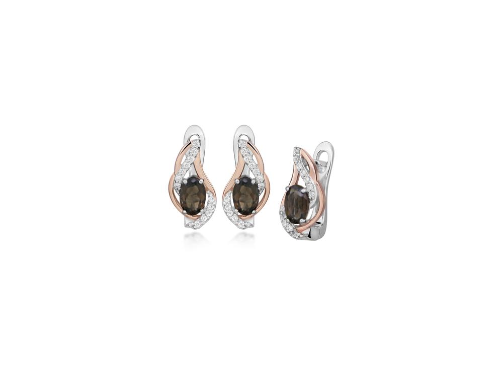 JVD Dámské stříbrné náušnice se záhnědou SVLE0405SH8SM00