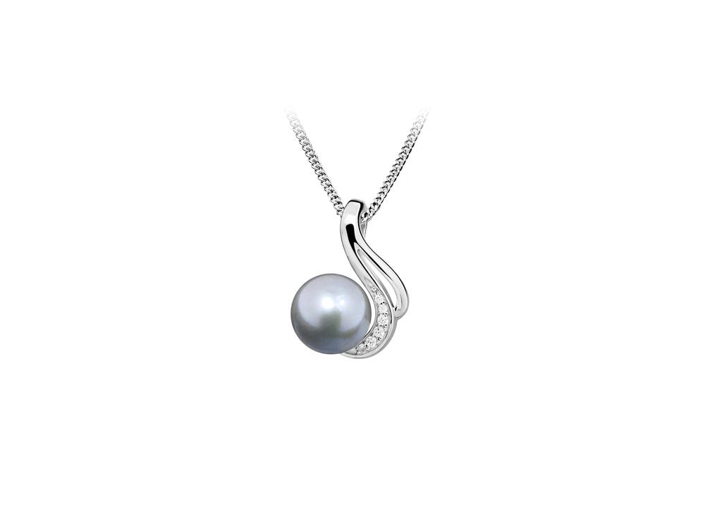 JVD Dámský stříbrný přívěšek s černou perlou  SVLP0407SH8P600