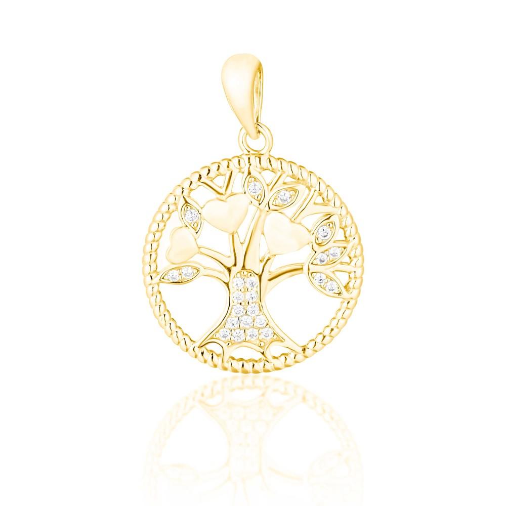 JVD Stříbrný pozlacený přívěsek - strom života SVLP0755XF6GO00