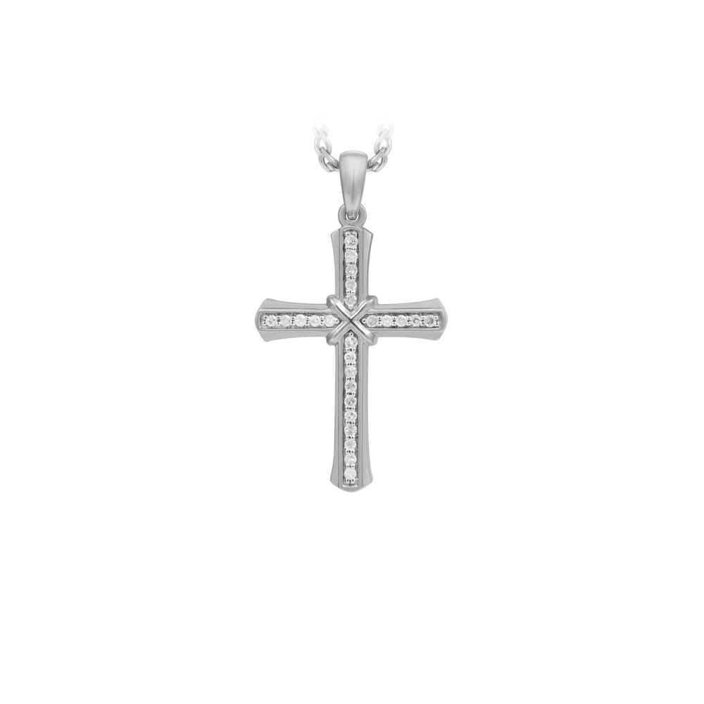 JVD Stříbrný přívěsek se zirkony - křížek SVLP0765XH2BI00
