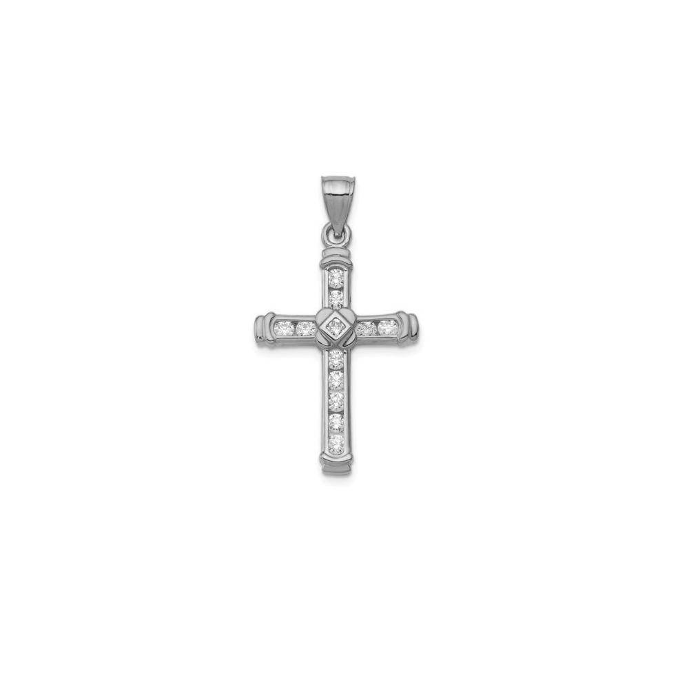 JVD Stříbrný přívěsek se zirkony KŘÍŽEK SVLP0776XH2BI00
