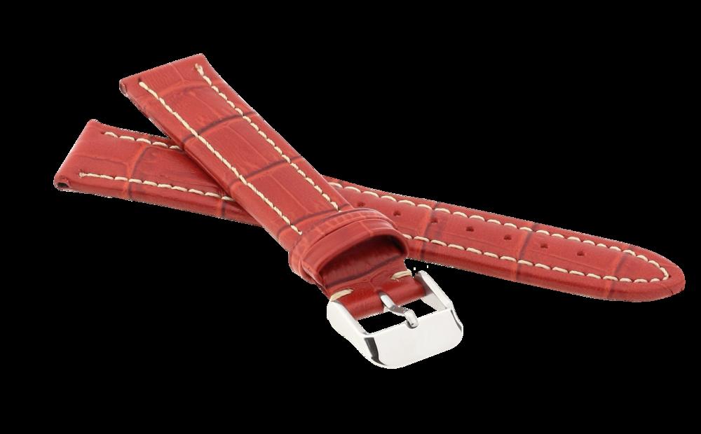 JVD Červený prošitý kožený řemínek na hodinky JVD R14507/18